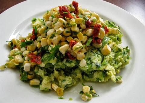 Corn Zucchini Salad with Scrambled Eggs and Parsley