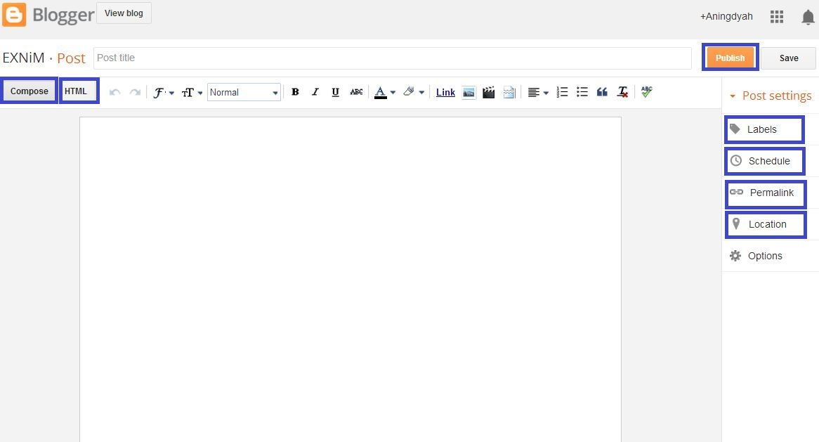 Blogger Editor (penulisan artikel)