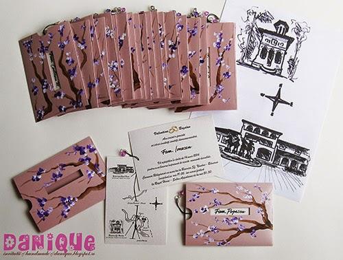 invitatii de nunta cu plicuri pictate manual