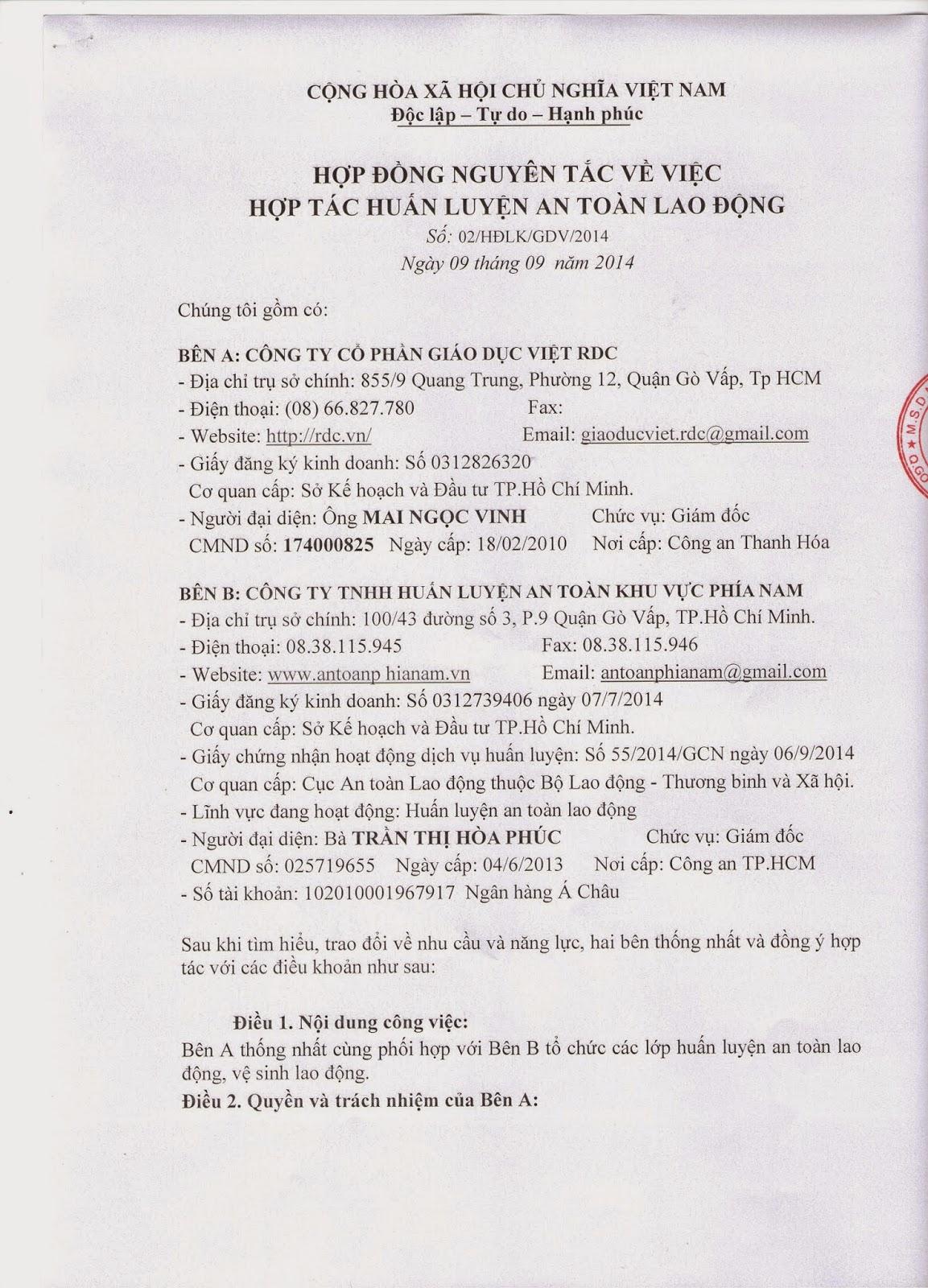 Hợp đồng liên kết Công Ty TNHH Huấn Luyện An Toàn Khu Vực Phía Nam - Công Ty Cổ Phần Giáo Dục Việt RDC