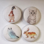 Handmade linen button set
