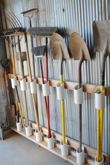 Shovel and yard tool organizer with PVC pipe :: OrganizingMadeFun.com