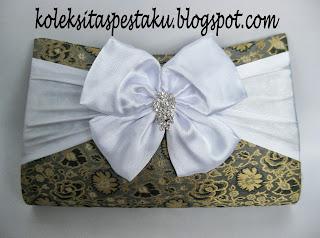 Tas Pesta Songket Silver Putih