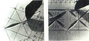 incisiones cortas en la madera