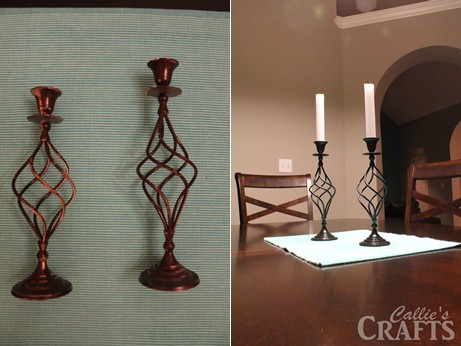 Spray painted candle stick holders