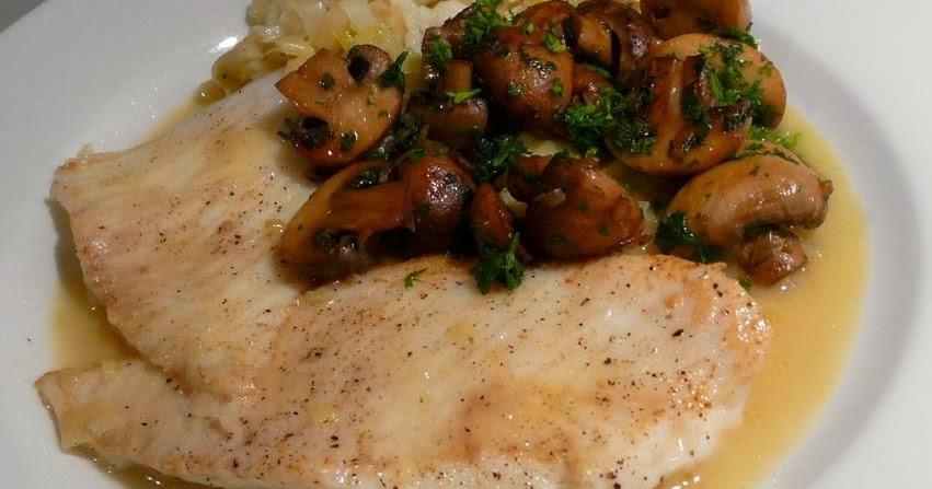 Steinbutt und Champignons an Noilly Prat-Petersilienwurzel-Sauce