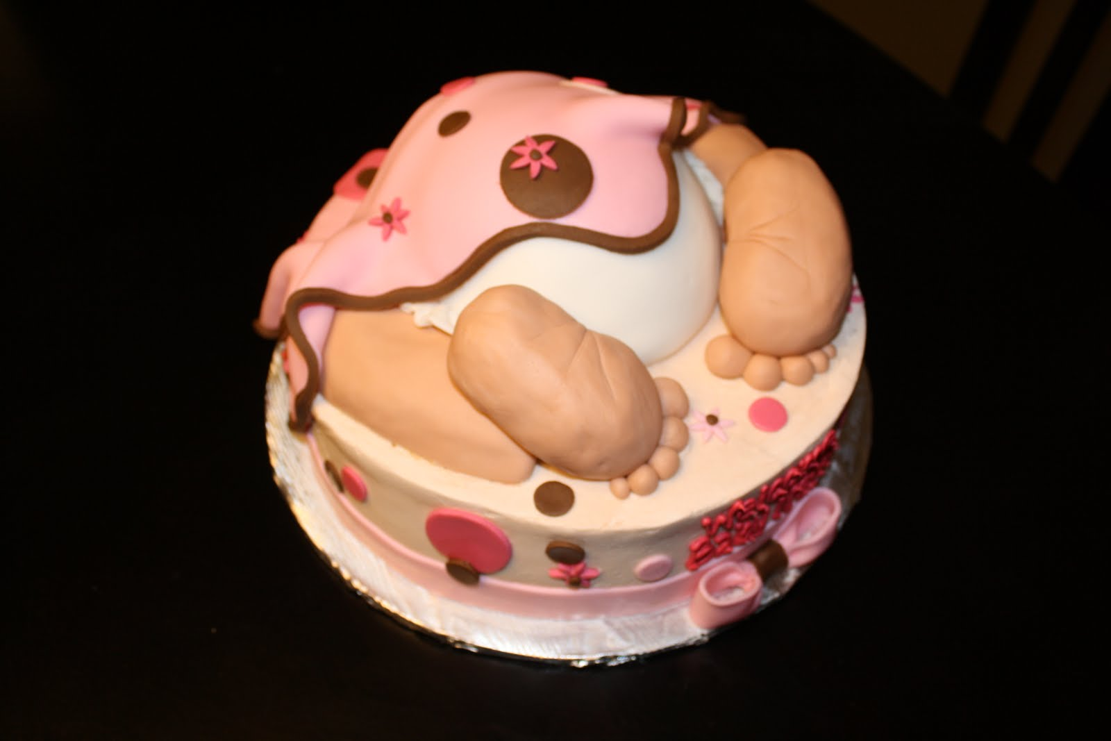 Baby Rump Cake Images : Hock Cakes LLC: Baby Rump: Girl; off white, pink, and brown