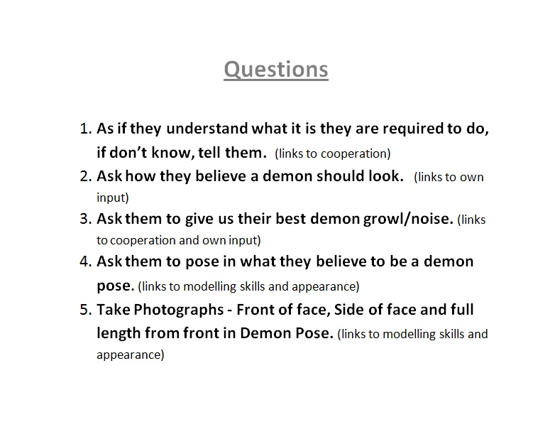 A2 Media Studies: Demon Audition Forms And Questions.