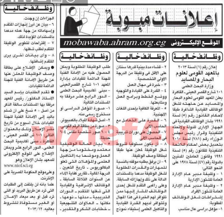 وظائف جريدة الأهرام الأربعاء 6 مارس 2013 -وظائف مصر الأربعاء 6-3-2013