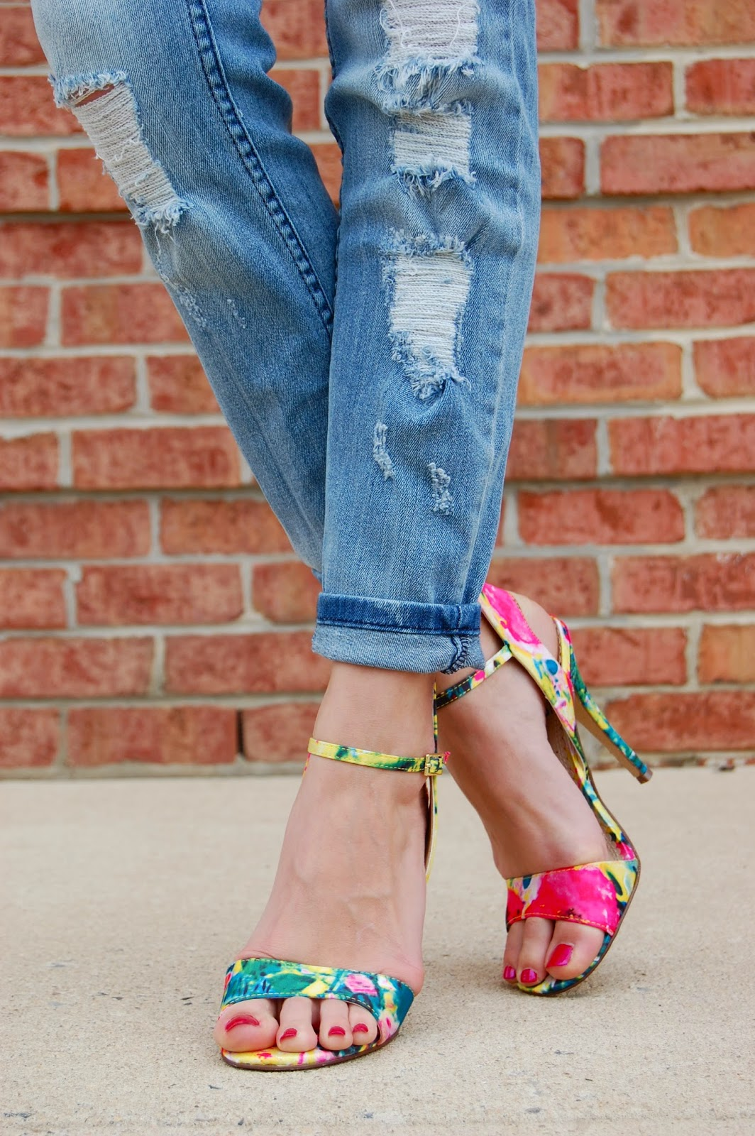 Wearing STS Blue from Nordstrom destroyed boyfriend jeans, Mix No 6 cameo multi color sandal