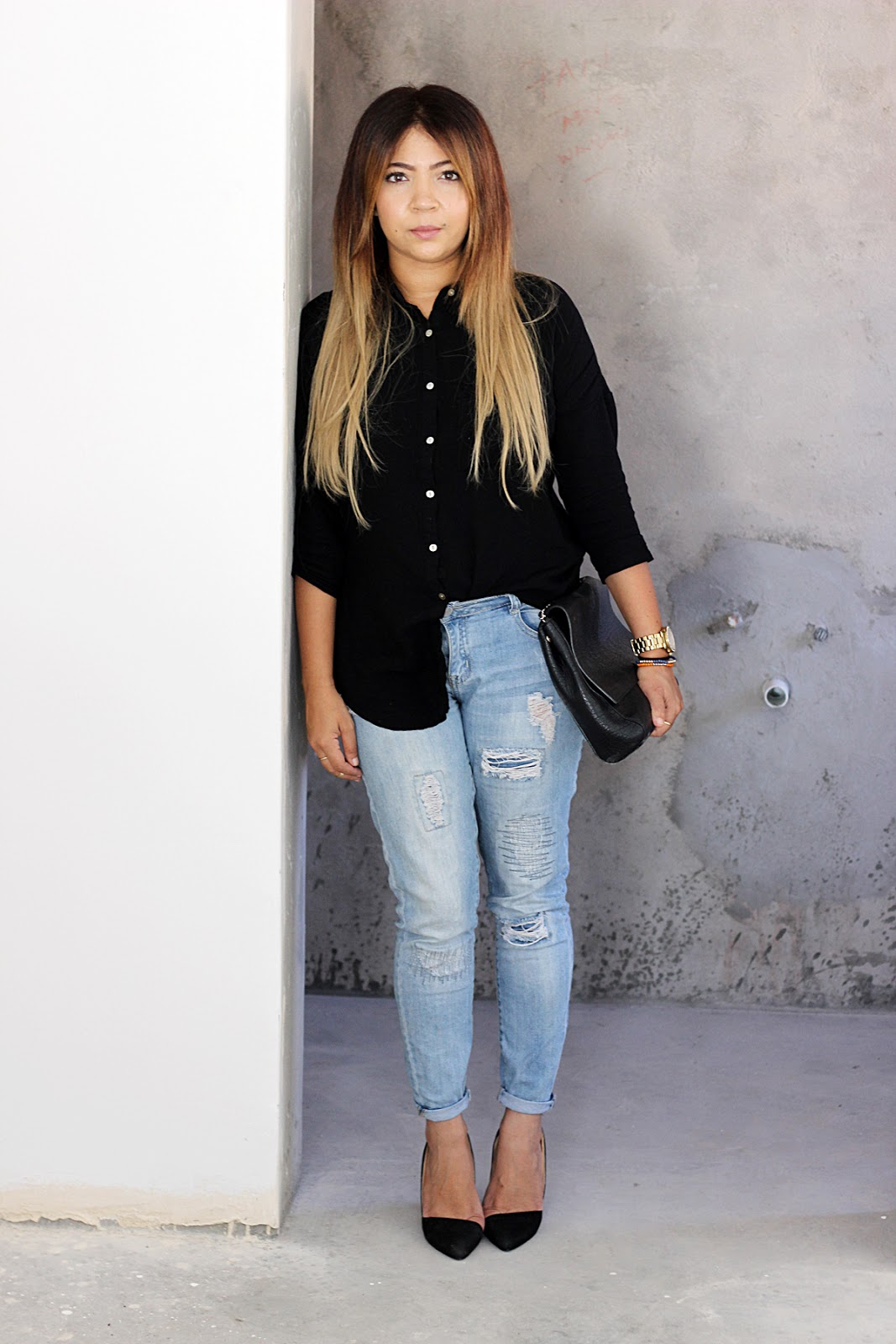 shirt & jeans ootd
