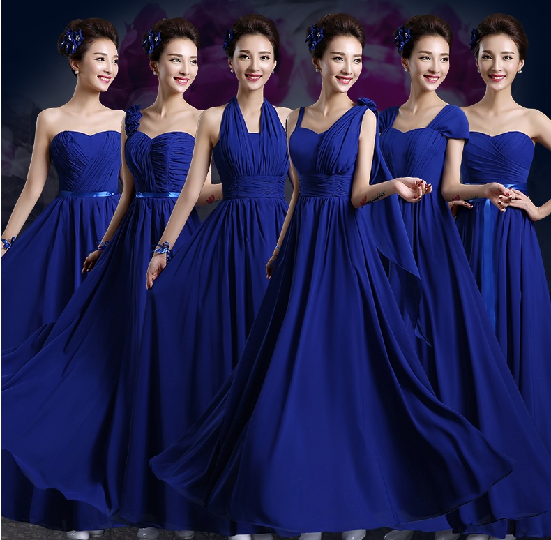 6-Design Sapphire Blue Chiffon Bridesmaids Midi/Maxi Dress
