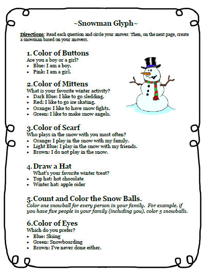 Fifth Grade Freebies: 12-12-12 and a Snowman Glyph Writing Activity