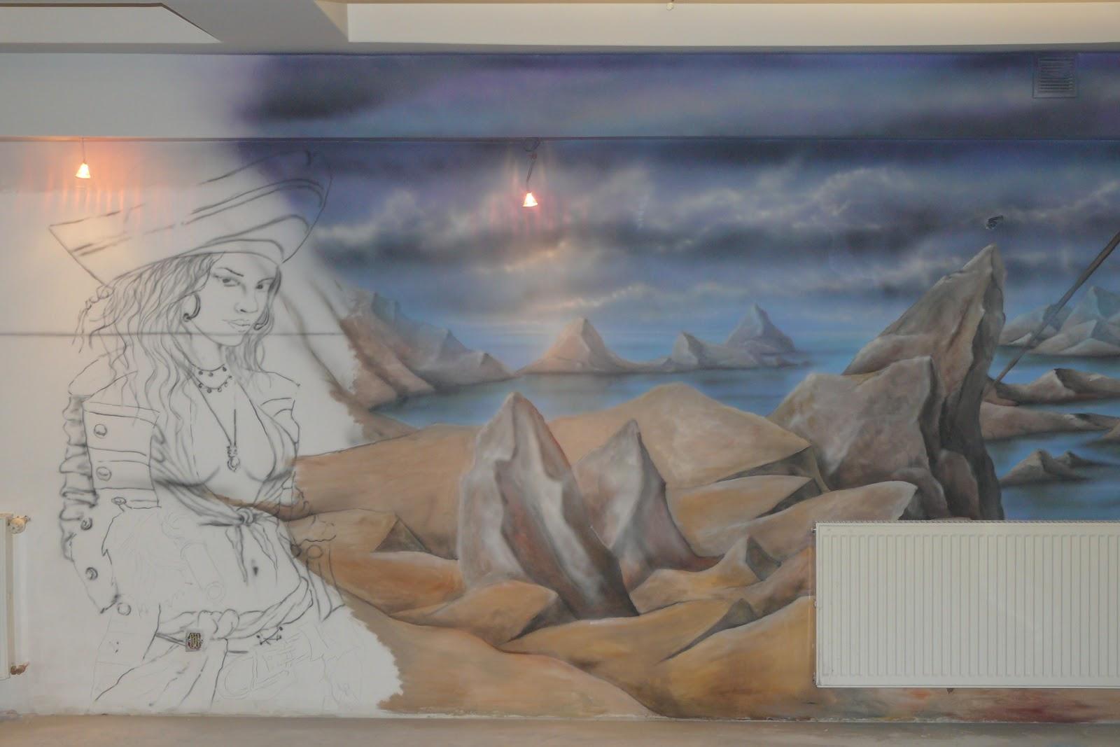 Malarstwo dekoracyjne 3D, malowanie obrazu na ścianie w motyw piratów