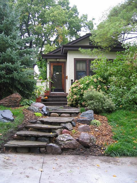 Dise os de patios con escalera estilo rustica patios y - Diseno de jardines rusticos ...