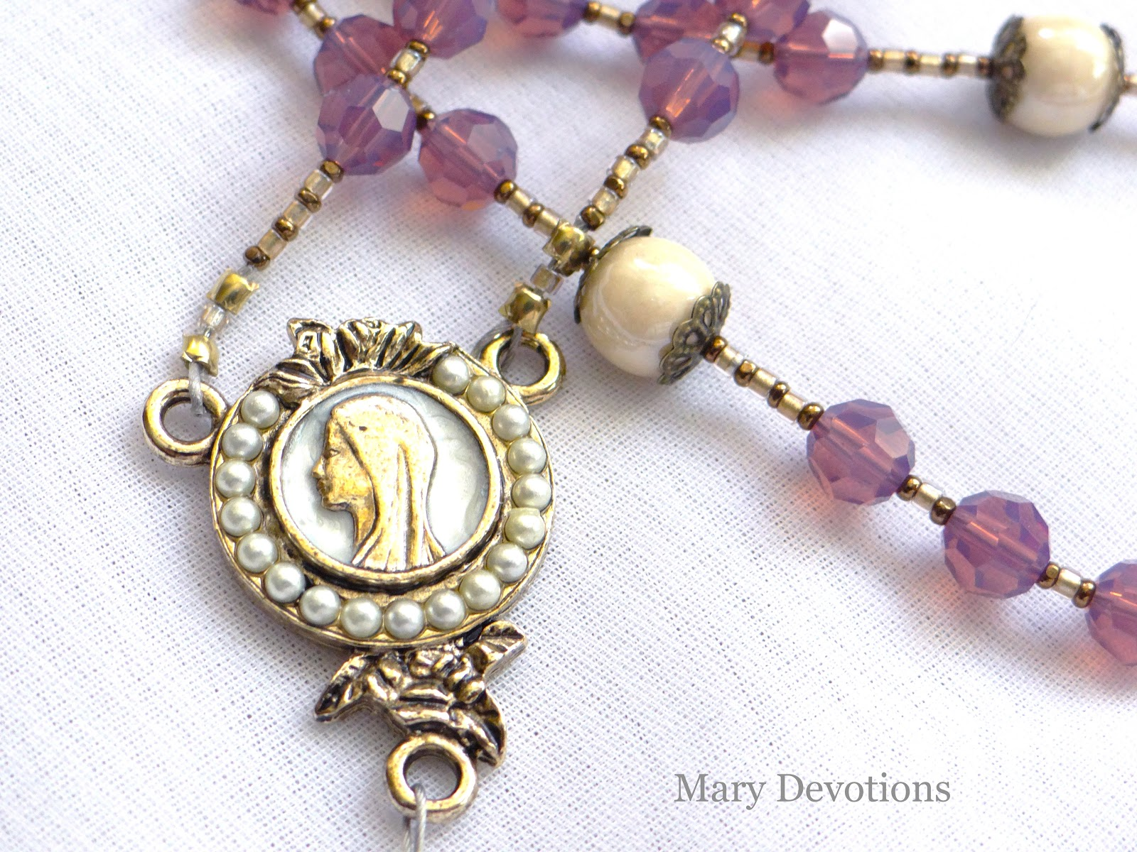 Blessed Mother Encircled In Cyclamen Opal And Pearls
