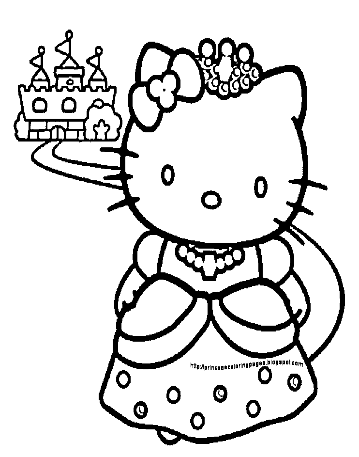 Princess coloring pages for Hello kitty princess coloring page