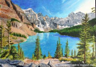 Paisaje de las montañas rocosas en acrílico sobre lienzo