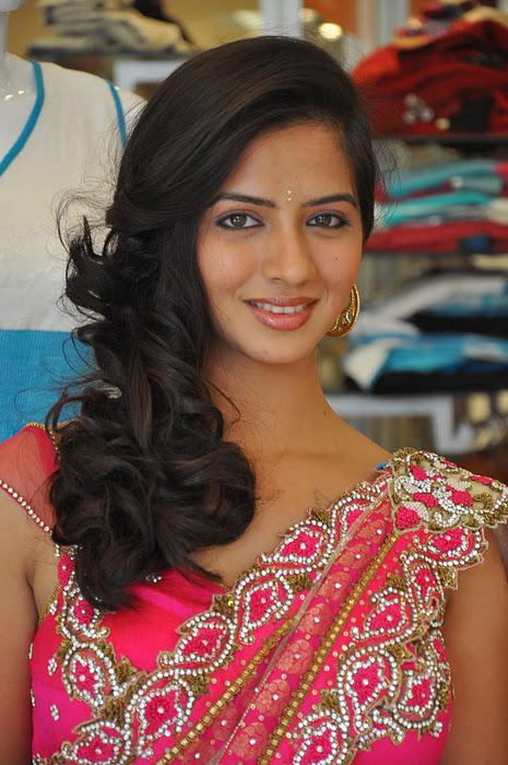 South New Desi Actress Nisha Shah Latest Cute Saree Photos cleavage