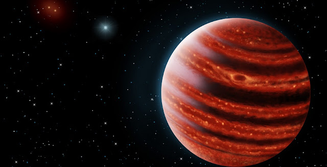 An artistic conception of the Jupiter-like exoplanet, 51 Eridani b, seen in the near-infrared light that shows the hot layers deep in its atmosphere glowing through clouds. Because of its young age, this young cousin of our own Jupiter is still hot and carries information on the way it was formed 20 million years ago. Credit: Danielle Futselaar & Franck Marchis, SETI Institute.