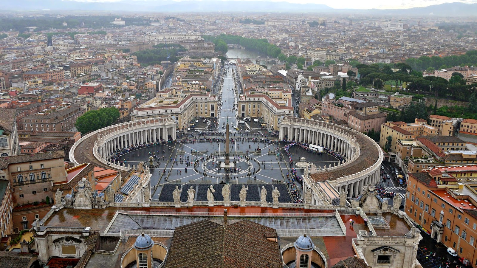 View of St Peter's Square from the top of the dome