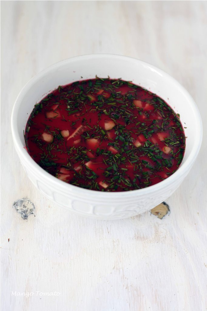 ... Tomato: Cold beet soup with potatoes, cucumbers, herbs & buttermilk