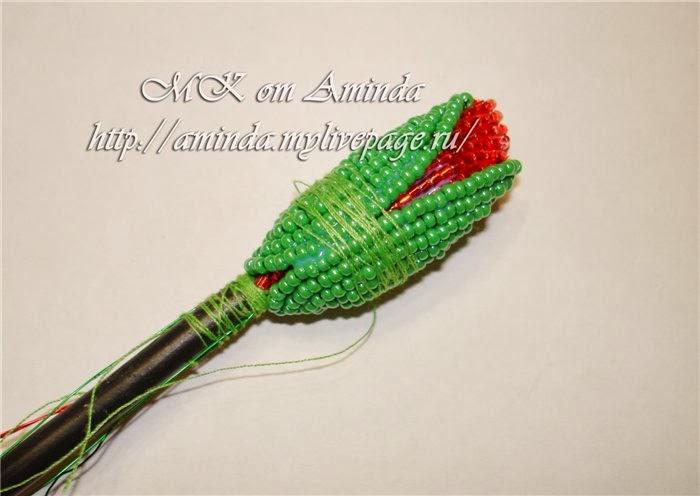 плетение мака из бисера