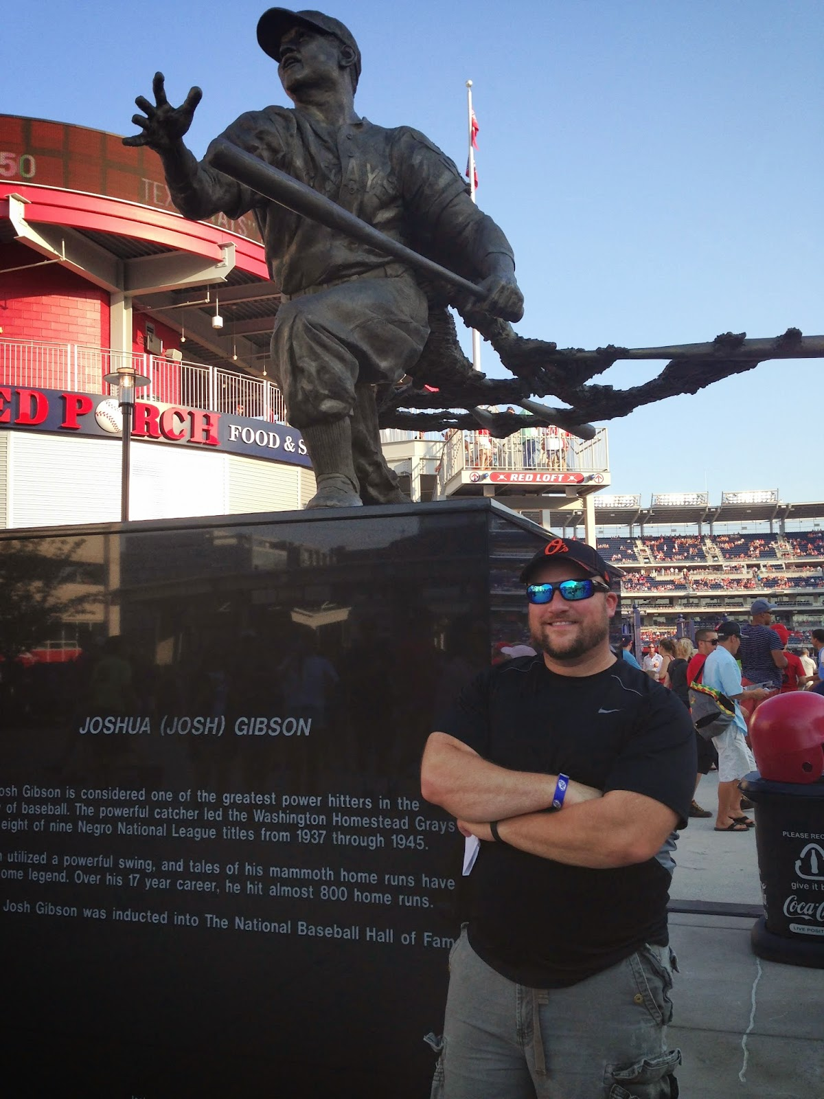 epiphany in baltimore  and me this summer in front of the josh gibson statue at washington nationals park