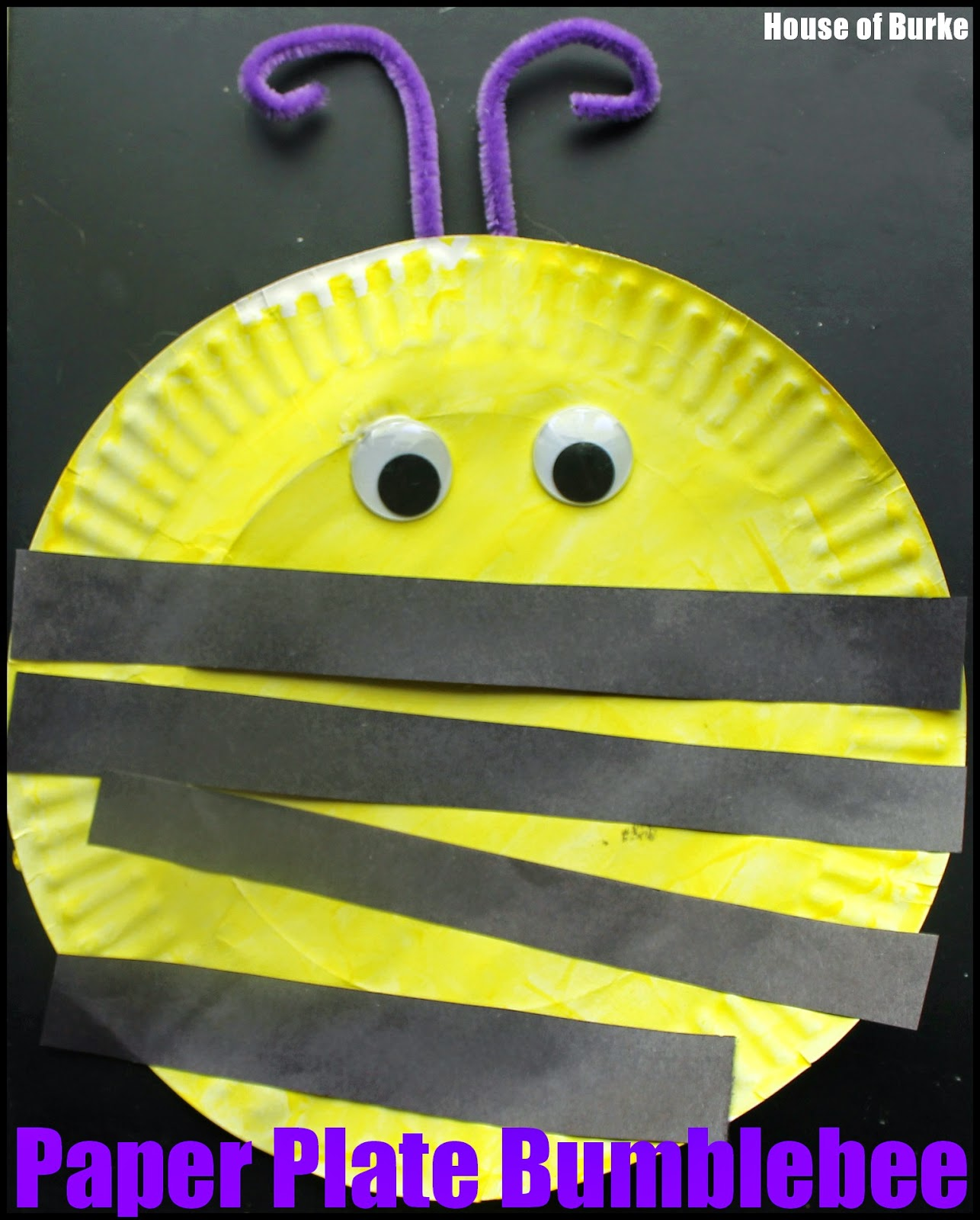 I attached the purple antennae and his bee was complete. I think it turned out adorable and so does K!  sc 1 st  House of Burke : paper plate bee - pezcame.com