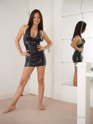 Hot Brunette Raquel in Sexy Black Latex Mini Dress