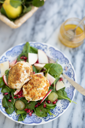 crispy mozzarella salad with lemon garlic vinaigrette