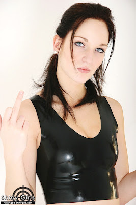 Sexy Latex Lesbian in Tight Black Shiny Latex