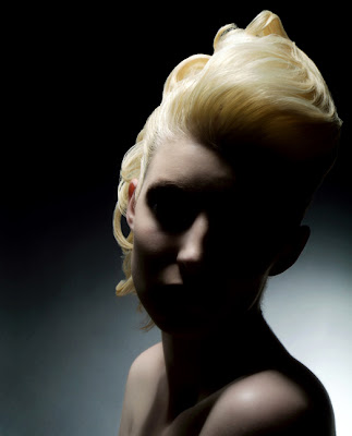 blonde hair model shadow sleek hairspray