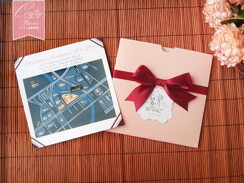 Blisshouse Singapore Horse Carriage Square Pocket Wedding Card with Personalized Hanged Tag