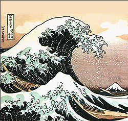 painting of japanese tsunami wave