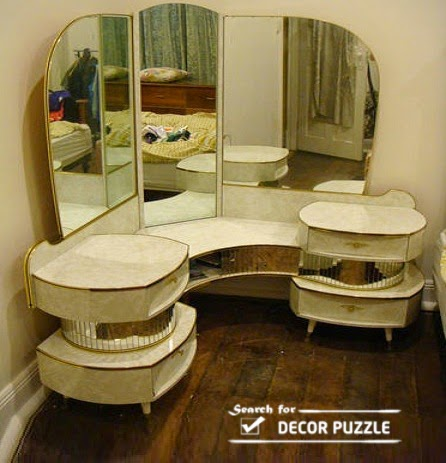Luxury White Corner Dressing Table With Angular Mirror For Small Bedroom