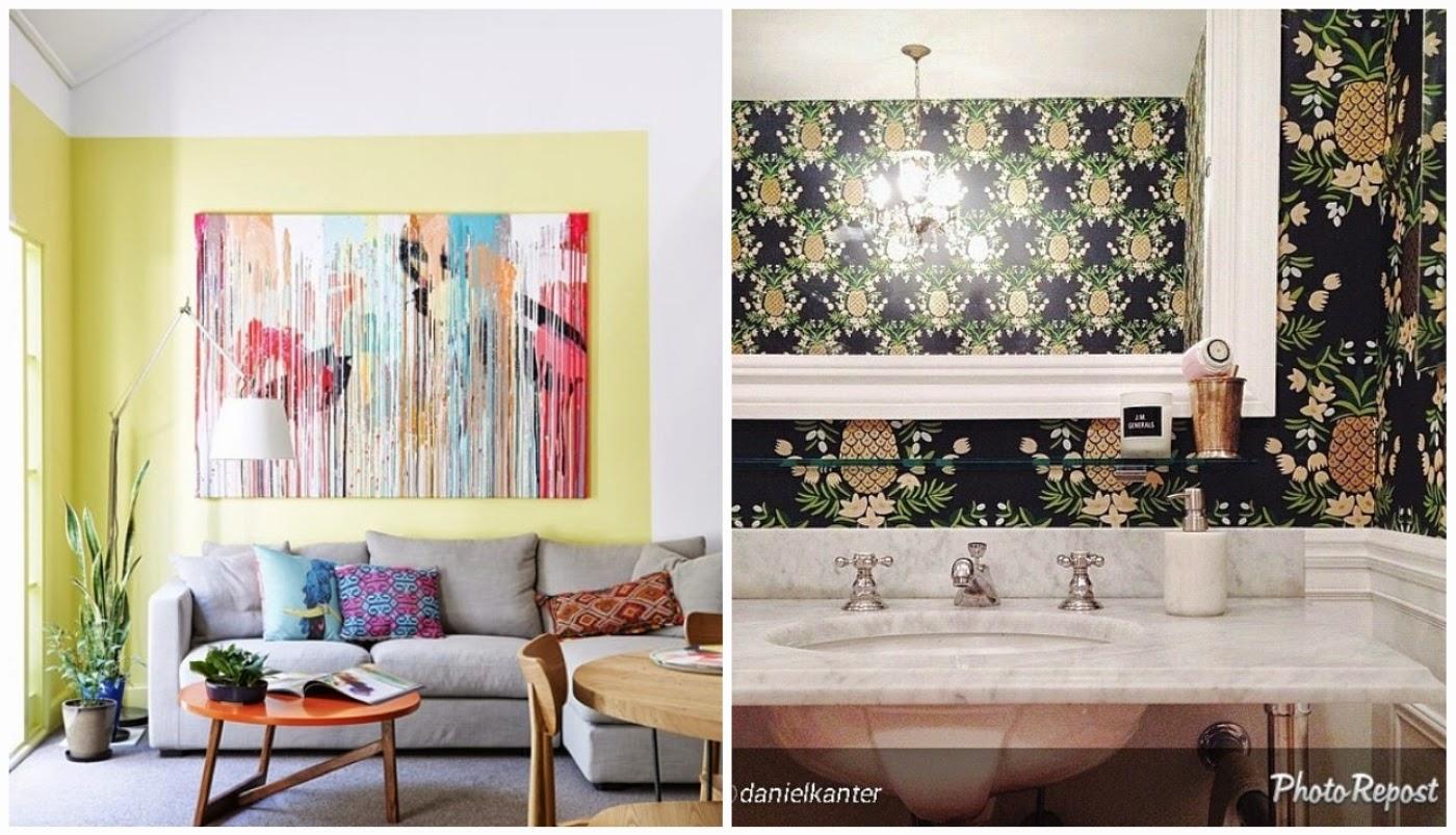 combinação de cores na sala de estar @casadevalentina e parede ilustrada com abacaxis no lavabo @etxekodeco