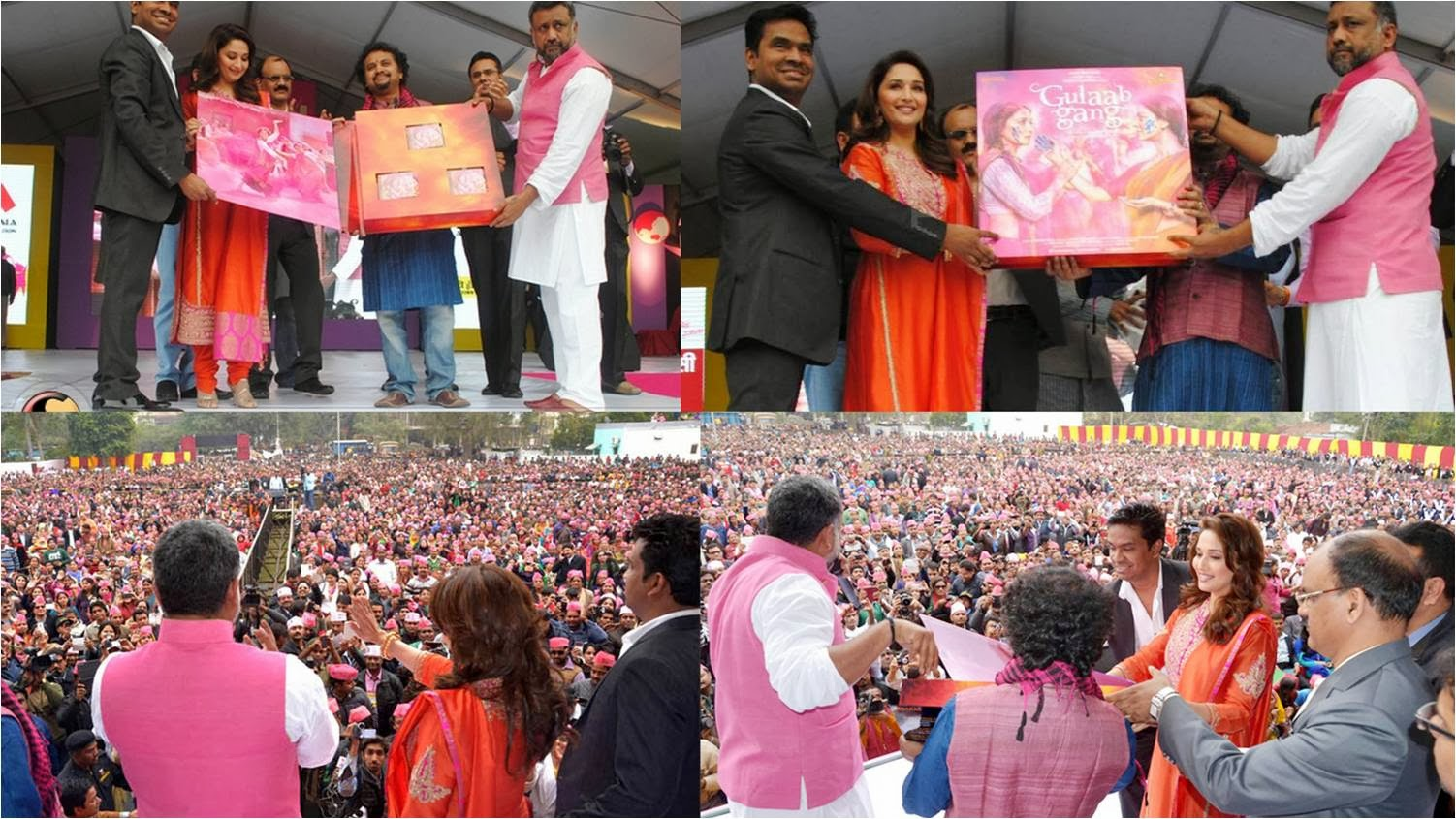 Madhuri Dixit, Soumik Sen and Anubhav Sinha at Gulaab Gang Music Launch