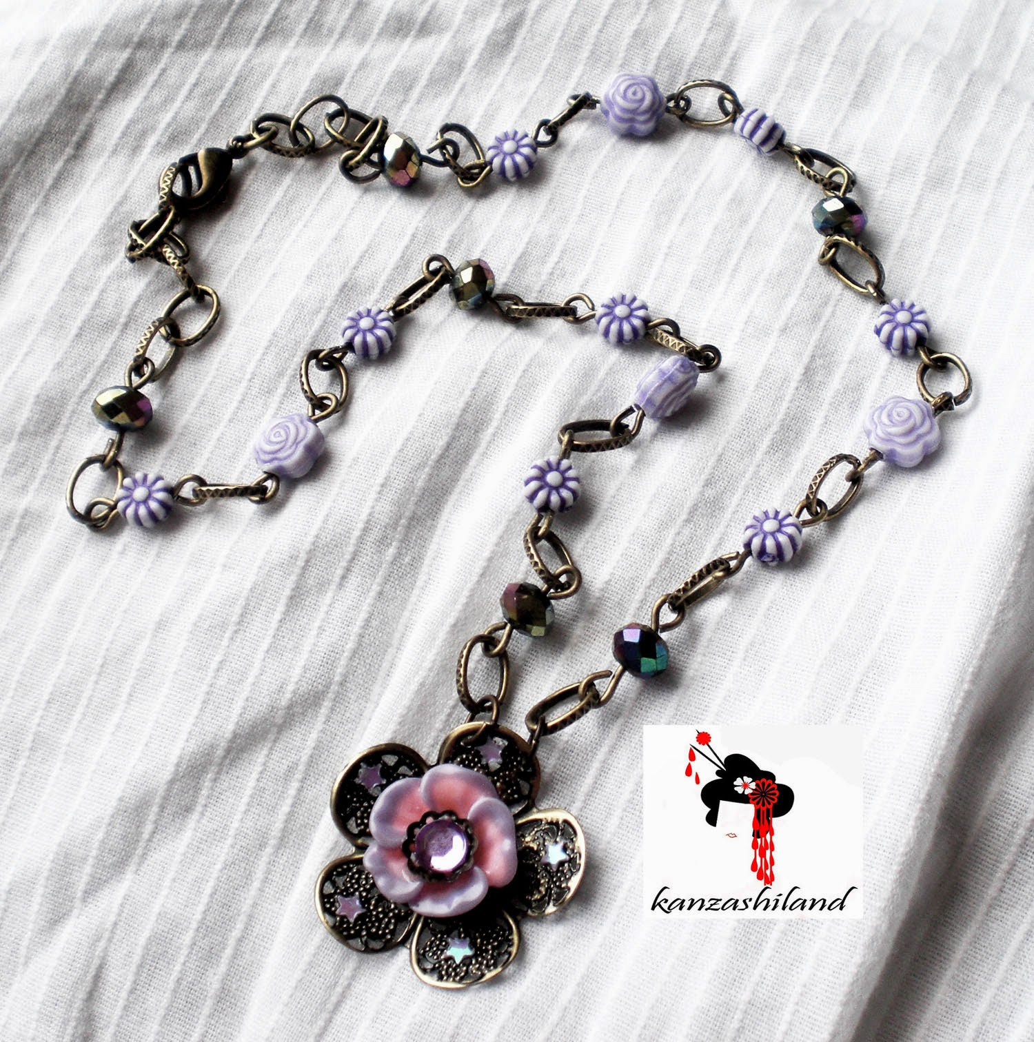 Victorian floral necklace handmade