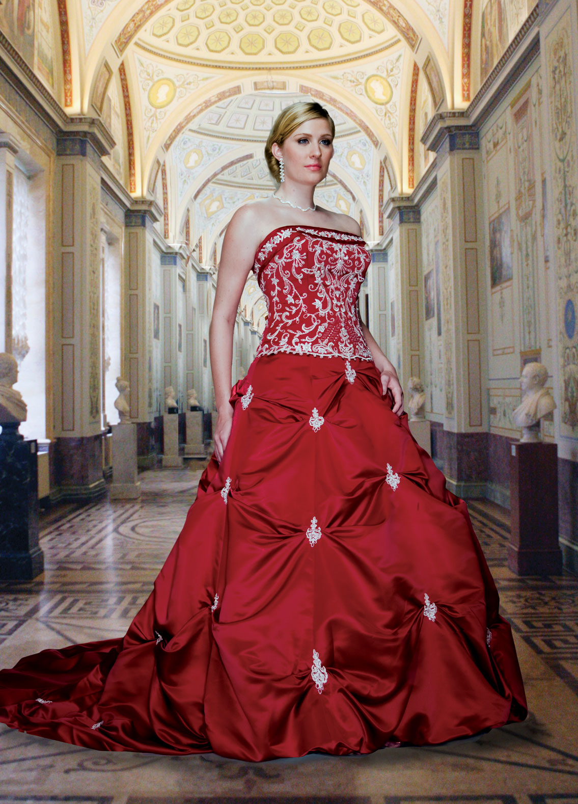 red and white wedding gown