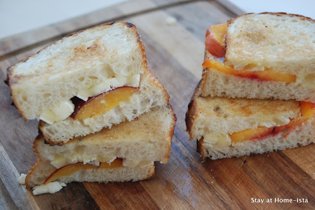 Pluot and brie grilled cheese sandwich on sourdough bread