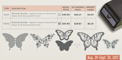 Stampin'UP!'s september promotion:  Bitty Butterfly Punch and Papillon Potpourri Stamp Set