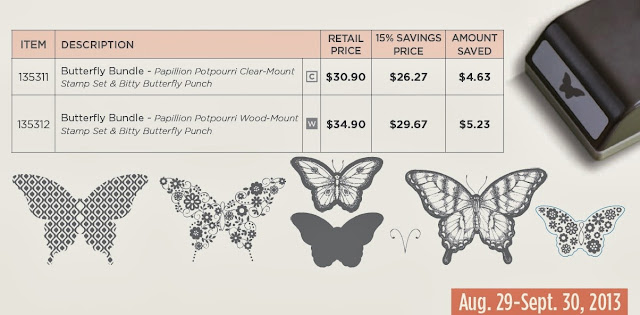 Save 15% on Stampin'up!'s Butterfly stamp set and Bitty Butterfly punch