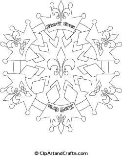 Mardi Gras mandala coloring page for teens or adults