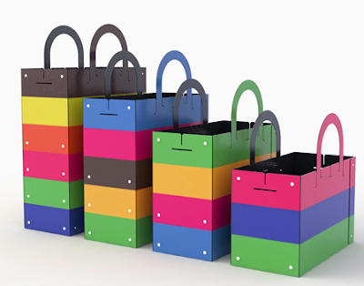 colorful bags for collecting recycling, in four sizes