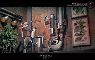3D interior scene combining 3D model and scene of a Sci Fi coffeemaker