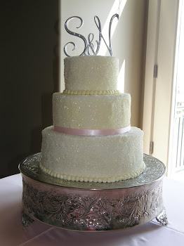 3-tier round buttercream with sugar crystals