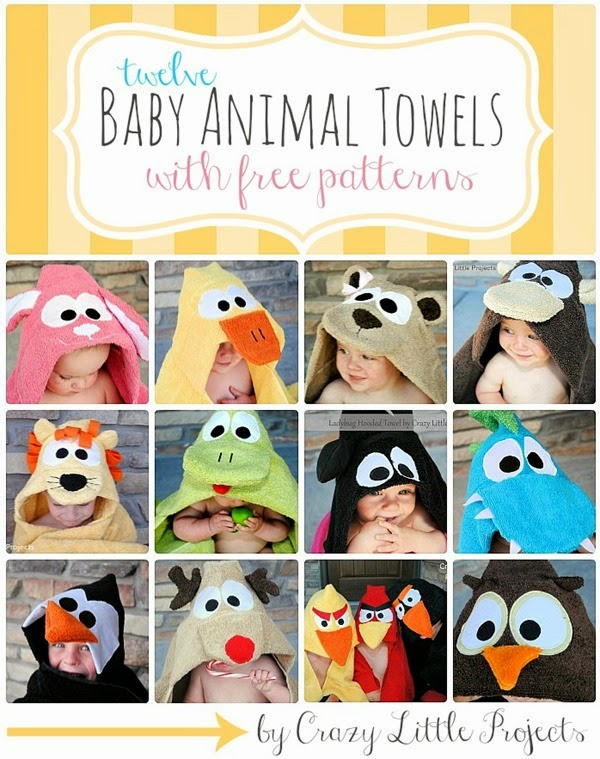 12 Baby Animal Towel Tutorials with Free Patterns