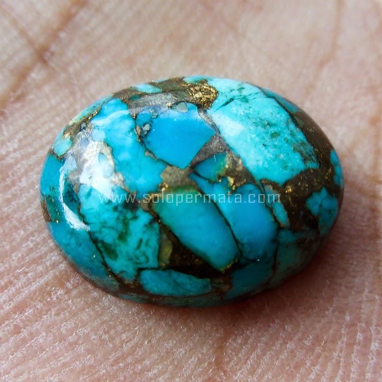 Batu Permata Pirus Serat Emas - SP447