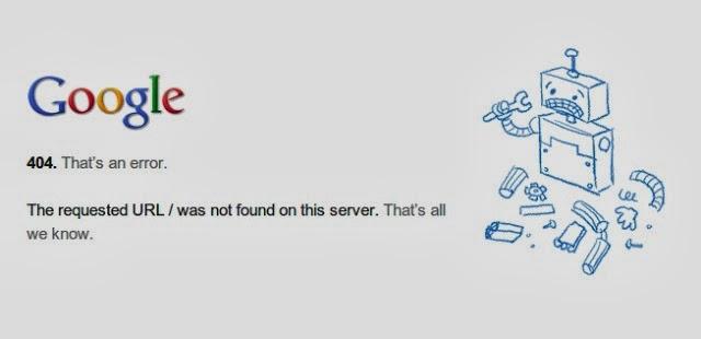 Mensaje Google de error 404
